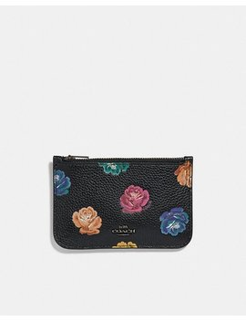 Zip Card Case With Rainbow Rose Print by Coach