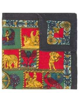 Cashmere Animal Motifs Scarf by Hermès Vintage