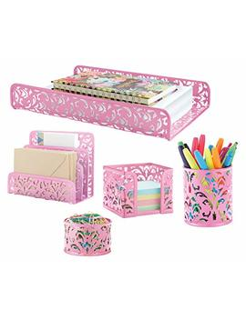 Pink Decor Office & Home Accessories 5 Piece Desk Organizer Set For All Your Supplies By Mission Max by Mission Max