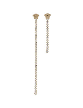 Gold Asymmetric Medusa Crystal Earrings by Versace