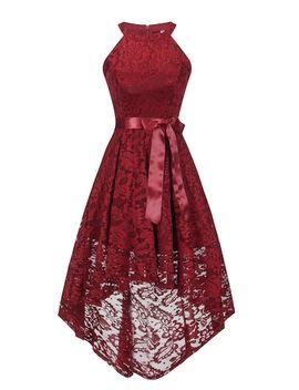 Solid Halter Asymmetric Hem Lace Dress by Sheinside