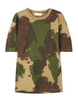 Camouflage Print Cotton Jersey T Shirt by Victoria Beckham