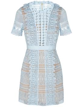 Spiral Powder Blue Guipure Lace Dress by Self Portrait