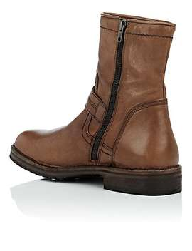 Washed Leather Moto Boots by Barneys New York