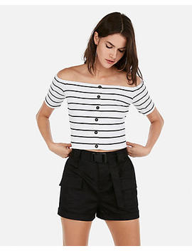 Olivia Culpo Striped Cropped Off The Shoulder Button Top by Express