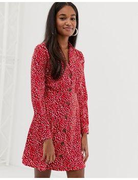 Influence – Kleid Mit Aufgedruckten Klecksen Und Button Down Kragen by Asos