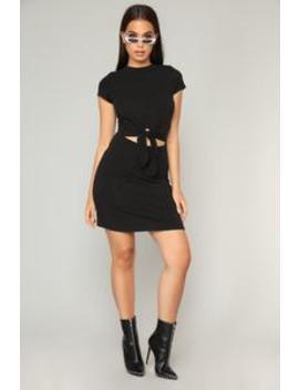 Knot Your Basic Dress   Black by Fashion Nova
