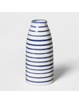 "9"" X 4"" Stoneware Stripped Vase White/Blue   Threshold™ by Shop Collections"
