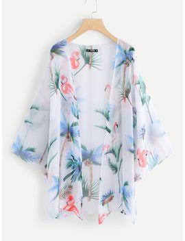 Coconut Tree Print Bell Sleeve Kimono by Shein