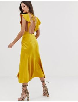 Asos Design Knot Front Plunge Midi Dress With Ruffle Sleeve And Open Back by Asos Design