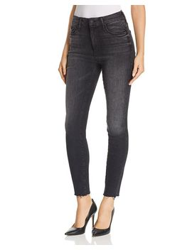 Looker High Rise Ankle Fray Skinny Jeans In Night Hawk by Mother