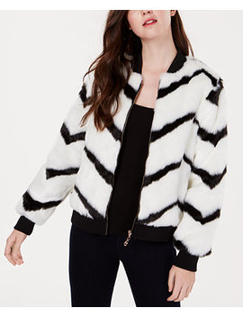 Juniors' Chevron Printed Faux Fur Bomber Jacket by Say What?