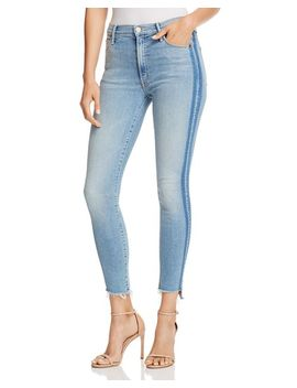 Stunner Side Stripe Ankle Step Hem Fray Skinny Jeans In Light Kitty Racer by Mother