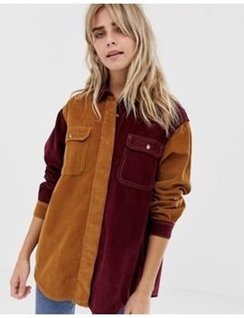 Pull&Bear Cord Colour Block Shirt In Camel And Burgundy by Pull&Bear