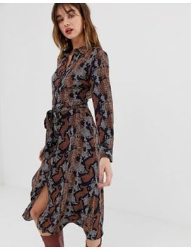 Warehouse Shirt Dress In Snake Print by Warehouse