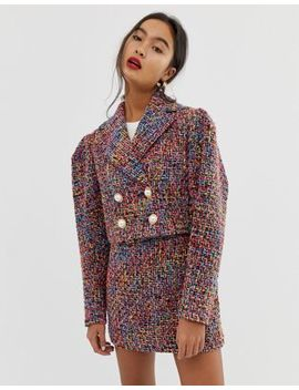 Asos Design Pop Boucle Suit Blazer With Statement Buttons by Asos Design