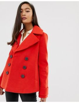 Miss Selfridge Double Breasted Coat In Red by Miss Selfridge