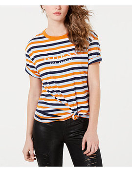 Cotton Striped Logo T Shirt by Guess