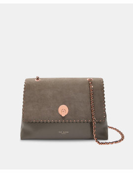 Studded Circle Lock Leather And Suede Shoulder Bag by Ted Baker