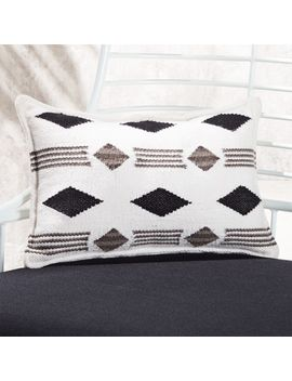 "20""X12"" Loreto Black And White Outdoor Pillow by Crate&Barrel"