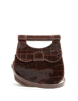 Madeline Crocodile Effect Leather Bag by Staud