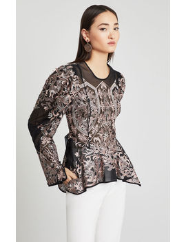 Embroidered Asymmetrical Peplum Blouse by Bcbgmaxazria