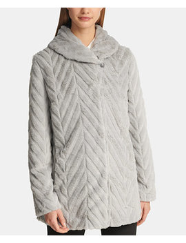 Faux Fur Shawl Collar Jacket, Created For Macy's by Dkny