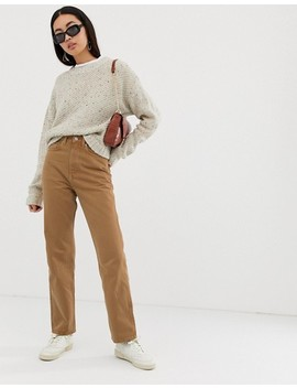 Weekday – Row – Schmale, Gerade Geschnittene Jeans Aus Bio Baumwolle In Camel by Asos