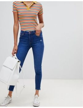 Bershka Low Waist Skinny With Rip by Bershka