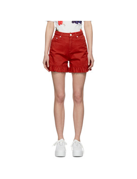 Red Denim Ruffled Shorts by Msgm