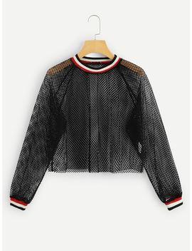 Striped Trim Mesh Sheer Crop Sweatshirt by Shein