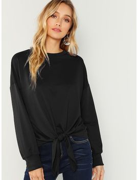 Knot Front Sweatshirt by Shein