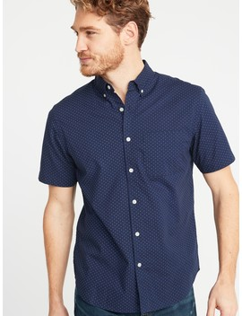 Regular Fit Built In Flex Dot Print Everyday Shirt For Men by Old Navy