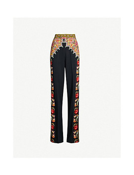 Paisley Print High Rise Wide Crepe Trousers by Etro