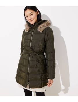 Petite Faux Fur Trim Belted Puffer Coat by Loft