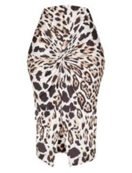 Leopard Print Twist Front Midi Skirt by Prettylittlething