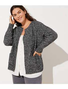 Loft Plus Marled Open Pocket Cardigan by Loft