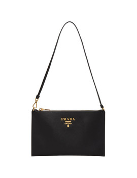 Black Saffiano Pouch Bag by Prada