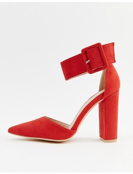 Glamorous Buckle Block Heeled Pumps In Red by Glamorous