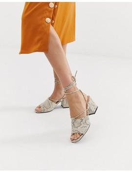 Public Desire Heidi Snake Print Ankle Tie Mid Heeled Sandals by Public Desire