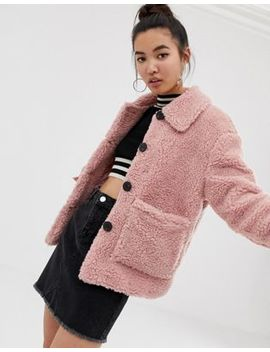 New Look Teddy Jacket With Buttons In Pink by New Look