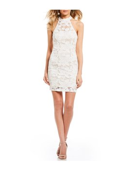 Mock Neck Lace Sheath Dress by Xtraordinary
