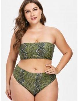 Snakeskin Bandeau Plus Size Bikini Set   Fern Green 3x by Zaful