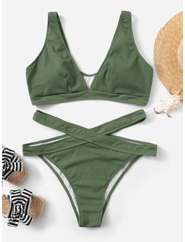 Plus V Plunge Ribbed Top With Cut Out Bikini Set by Sheinside