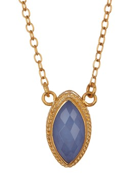18 K Gold Plated Sterling Silver Blue Chalcedony Marquis Necklace by Anna Beck
