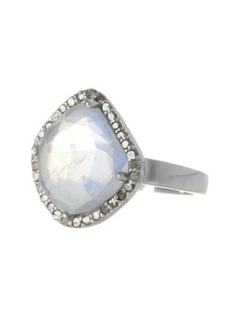 Moonstone & Diamond Rose Cut Halo Ring by Adornia