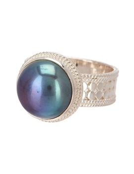 Sterling Silver 14mm Simulated Blue Pearl Ring by Anna Beck