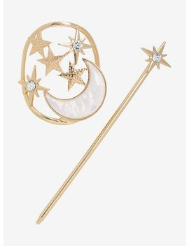 Moon Star Moonstone Cz Gem Bun Pin by Hot Topic