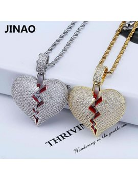Jinao Fashion Broken Heart Iced Out Chain Pendant Necklace Statement Gold Color Cubic Zircon Necklace Hip Hop Men's Jewelry Gift by Jinao