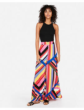 High Waisted Striped Button Front Maxi Skirt by Express